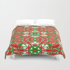 Red, Green and White Kaleidoscope 3376 Duvet Cover