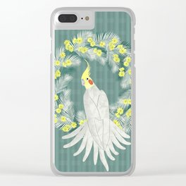 Cockatiel with daisy palm wreath Clear iPhone Case