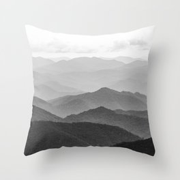 Forest Fade - Black and White Landscape Nature Photography Throw Pillow