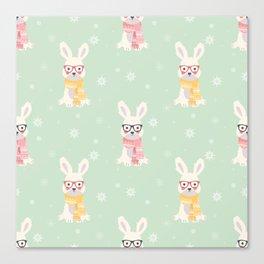 White rabbit Christmas pattern 001 Canvas Print