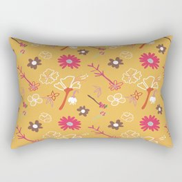 Orange Flower Repeat Rectangular Pillow