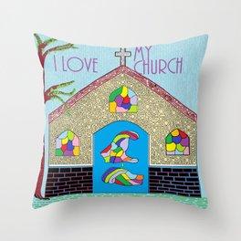 ASL I Love my Church Throw Pillow