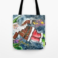 santa Tote Bags featuring Santa by Shelley Ylst Art