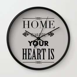 Home Heart grey - Typography Wall Clock
