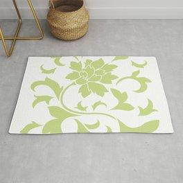Oriental Flower - Daiquiri Green On White Background Rug