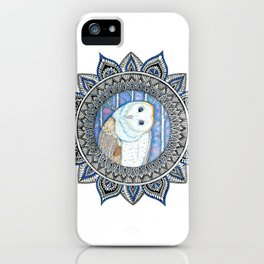 Winter Barn Owl Mandala iPhone Case
