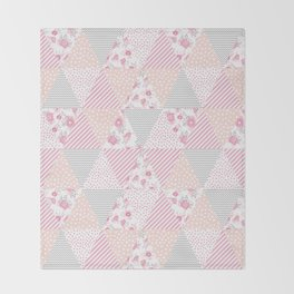 Pink soft flowers triangle quilt pattern print for home decor nursery craft room Throw Blanket