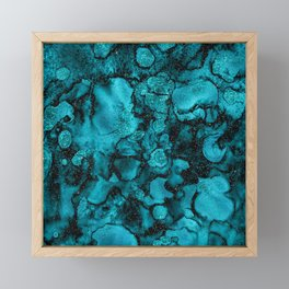 Blue Gemstone and Ink Malachite Glitter Marble Framed Mini Art Print
