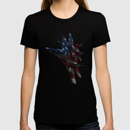 US Military Fighter Attack Jets with American Flag Overlay T-shirt