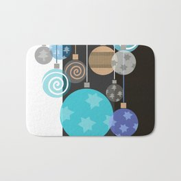turquoise Christmas ornaments Bath Mat