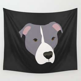 Grey and White Pit Bull Wall Tapestry