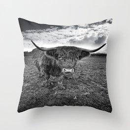 Rugged Highland Cattle Throw Pillow