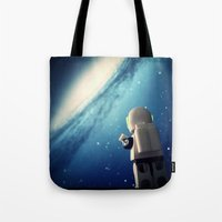 neil gaiman Tote Bags featuring Neil in the galaxy by Salvatore Rotolo