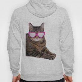 Tabby Cat in Heart Glasses Hoody