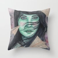planes Throw Pillows featuring Paper planes  by Pendientera