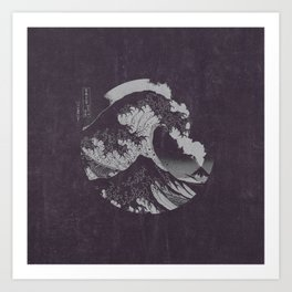 The Great Wave off Kanagawa Black and White Art Print