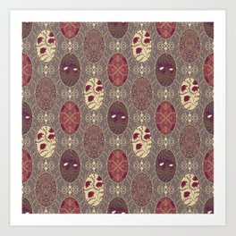 Patchwork seamless floral abstract pattern texture background Art Print