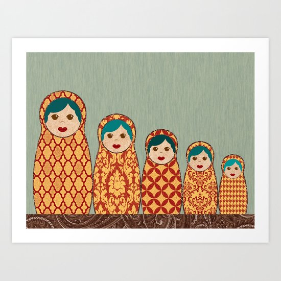 Red and Yellow Matryoshka Nesting Dolls Art Print