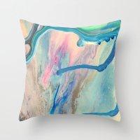 nirvana Throw Pillows featuring Nirvana Sky by LANELLA TELLO