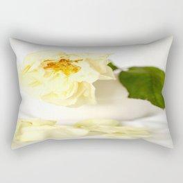 White Vintage Rose  Rectangular Pillow