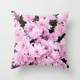 A Sea of Light Pink Chrysanthemums #1 #floral #art #Society6 Throw Pillow
