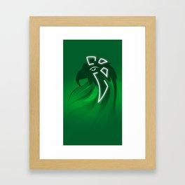 Enlightened Green Parrot Framed Art Print