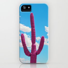 Pink Saguaro Against Blue Cloudy Sky iPhone Case
