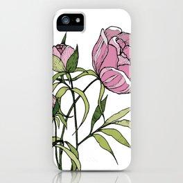 Pink peony iPhone Case