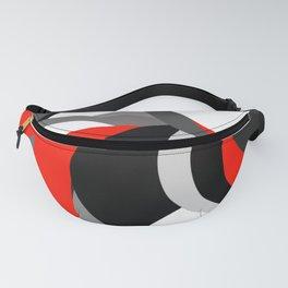 black white grey red geometric digital art Fanny Pack