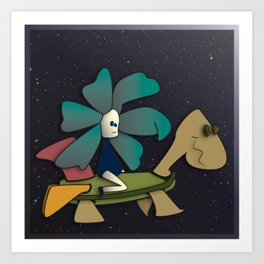 """""""Going to Unexpected Places with RoboTurtle"""" Flowerkid Art Print"""