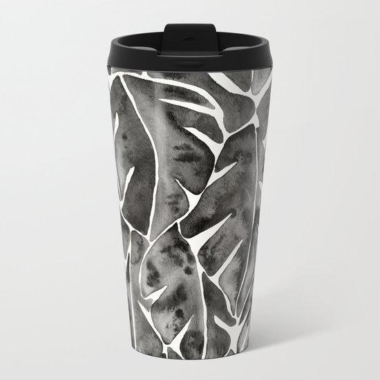 Split Leaf Philodendron - Black Metal Travel Mug