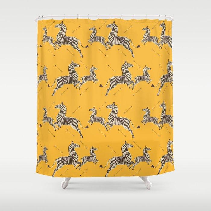 Royal Tenenbaums Zebra Wallpaper - Mustard Yellow Duschvorhang