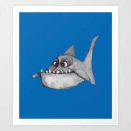 Piranha (mid blue) Art Print