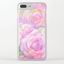 Lush, pink, painterly roses Clear iPhone Case