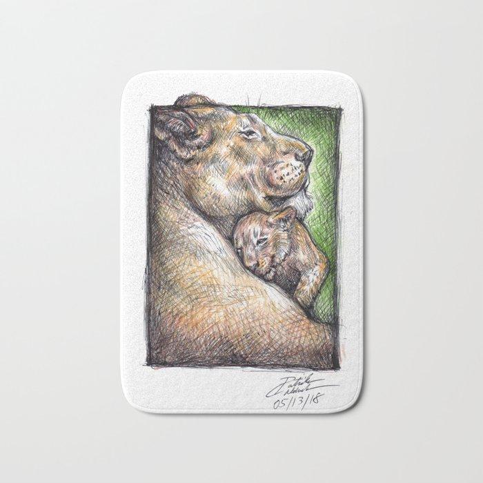 Lioness and Cub Bath Mat