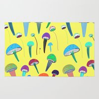 mushrooms Area & Throw Rugs featuring Mushrooms  by Ashley Percival illustration