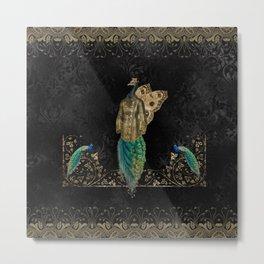 Steampunk peacock Metal Print