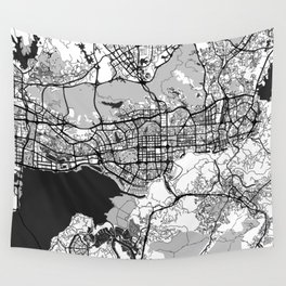 Shenzhen Map Gray Wall Tapestry