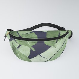 Tropical Leaves 2 Blue Fanny Pack