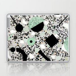 Terrazzo Design Memphis Style Green and Black Laptop & iPad Skin