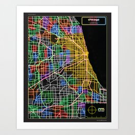 Chicago Street Map in NEON Art Print