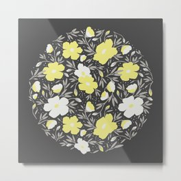 Floral pattern in grey and yellow colors 2  Metal Print