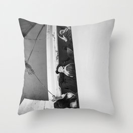 Smokers on a deck - Black and white street photography Throw Pillow