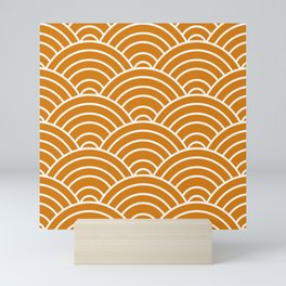 Orange Japanese Seigaiha Wave Mini Art Print