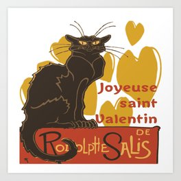 Joyeuse saint Valentin Le Chat Noir Parody Art Print