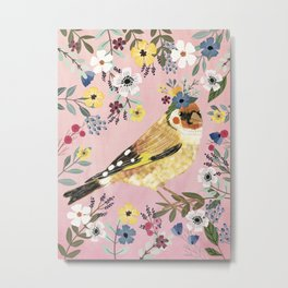 Goldfinch bird with floral crown Metal Print
