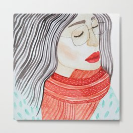 Beautiful lady with closed eyes in a red scarf wearing eyeglasses. Watercolor illustration. Metal Print