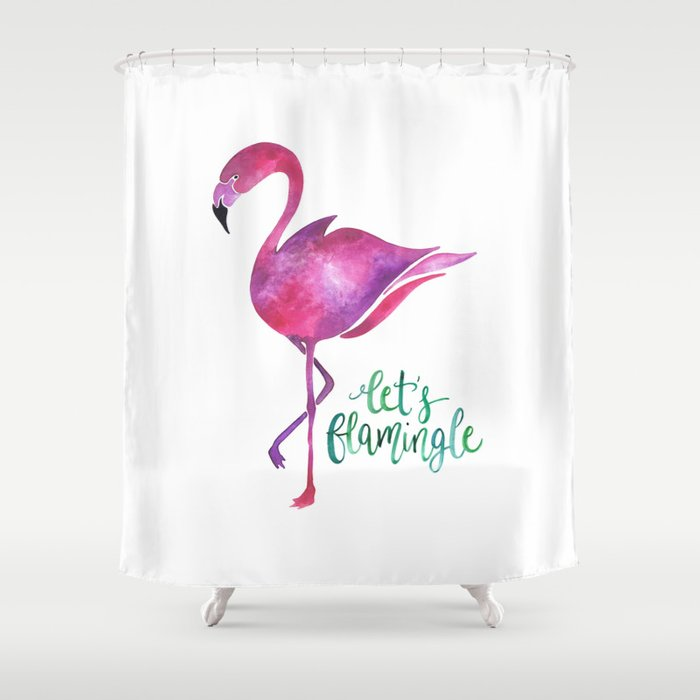 Let's Flamingle! —Version 2 Shower Curtain