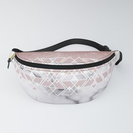 Modern Rose Gold White Marble Geometric Ombre Fanny Pack
