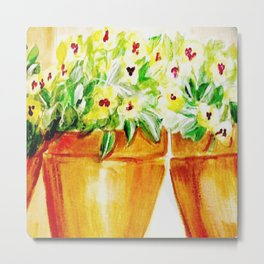 Pansies in yellow Metal Print